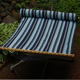 Navy and sky blue stripe / Blue solid, 13' Reversible Quilted Hammock with Matching Pillow by Alogma