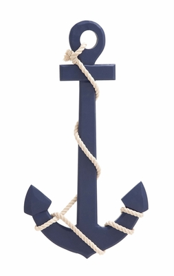 Navy Blue Color Palette Attractive Wood Rope Wall Anchor by Woodland Import