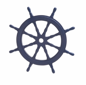 Navy Blue Polished Attractive Wood Ship Wheel - 78749 by Benzara