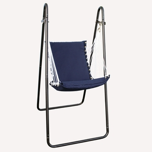 Navy Blue Solid Swing Chair and Stand Combination by Alogma