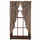 Navy Check Scalloped Prairie Curtain Set of 2 63x36x18