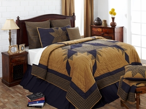 "Navy Star Solid Navy Bedskirt Queen 60"" x 80"" x 16"" by VHC Brands"