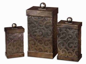 Nera Metal Decorative Box Set With Antique Silver Leaf Finish Brand Uttermost