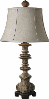 Nerio Gray Table Lamp with Crackle Base in Black Brand Uttermost