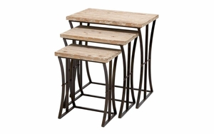 """Metal Wood Nesting Table Set/3 26"""",22"""",19""""H Accent Collection - 34848 by Benzara"""