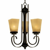 NevadaFalls Collection Enthralling 3 Light Chandelier in Venetian Bronze by Yosemite Home Decor