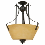 NevadaFalls Lighting Collection Striking 3 Light Semi -Flush Mount in Venetian Bronze by Yosemite Home Decor