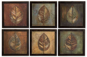 New Leaf Framed Panel with Black Distressing - Set of 6 Brand Uttermost