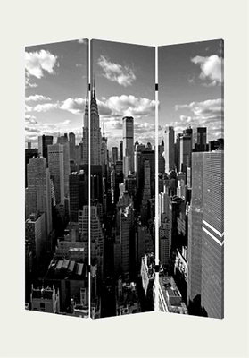 New York Skyline Screen, 3 Panel Canvas 48 Inch L X 72 Inch H Brand Screen Gems
