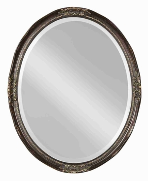 Newport Bronze Vanity Wall Mirror with Bronze and Silver Leaf Edge Brand Uttermost