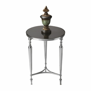 "Nickel End Table 16.25""Diam. by Butler Specialty"
