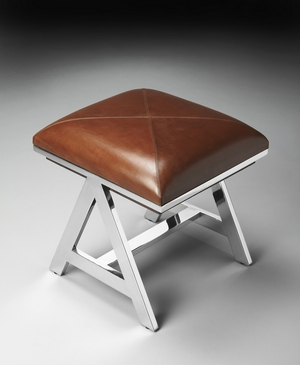 """Nickel Stool 20""""W by Butler Specialty"""