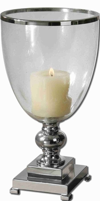 Nickle Plated Candle Holder With Clear Crystal Base Brand Uttermost