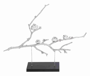 Charming Poly Stone Birds Sitting on Branch Blossom with Cherry Flowers - 44235 by Benzara