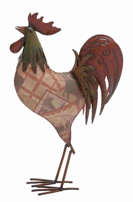 Niger Check Styled Funky Metal Rooster Brand Benzara