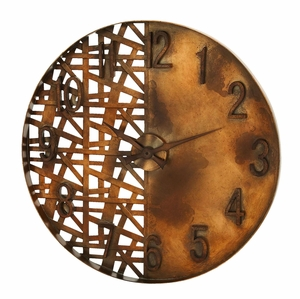 Night And Day Wall Clock Art With Artistic Copper Strips Brand Woodland