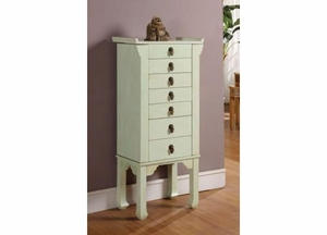 Ningbo Chinese 6 Drawer Jewelry Armoire in Rustic Green Brand Nathan