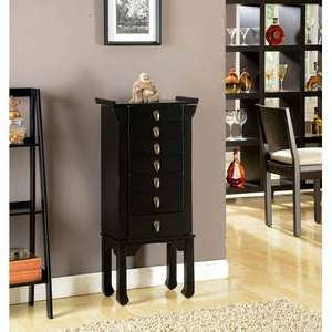 Ningbo Chinese 6 Spacious Drawer Jewelry Armoire in Black Brand Nathan