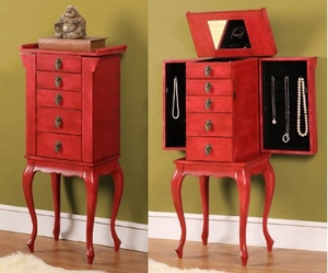 Ningbo Chinese Four Drawer Jewelry Armoire in Rustic Red Brand Nathan