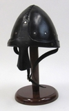 Norman Nasal Armor Helmet Leather with Chin Strip in Black by IOTC