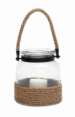 Norwich Lustrous Lantern With Traditional Rope Handle Brand Benzara