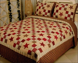 Nostalgia Red Quilt Luxury Oversize King Size, Handmade Cotton Quilt 118x102 Brand Elegant Decor