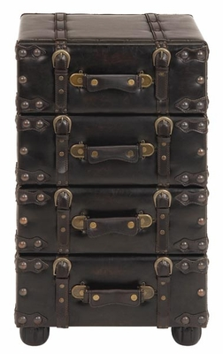 Nostalgic Leather Upholstered Hall Chest Cabinet Brand Woodland