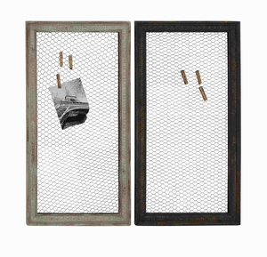 Wood Metal wall decor Assorted Set of Two with Wooden Frame and Wire Mesh - 51014 by Benzara