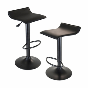 Winsome Wood Obsidian Airlift Adjustable Stool Backless Swivel - Black seat and Base - Set of 2