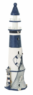 Ocean Harbor Coastal Lighthouse Decor With Fishing Net Brand Woodland