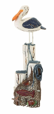 Ocean Harbor Perched Seagull And Net Decor With Aged Wood Brand Woodland