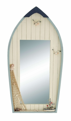 Ocean Harbor Row Boat Mirror Decor With Fishing Net Brand Woodland