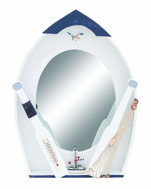 Ocean Harbor Row Boat Mirror Decor With Thermometer Brand Woodland