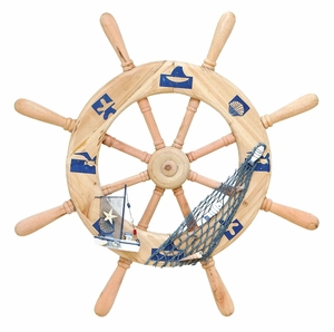 Ocean Harbor Ship Helm Decor With Fishing Net Brand Woodland