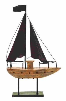 Ocean Theme Sailboat Decor With Waving Black Flag Brand Woodland