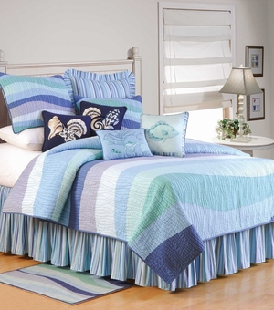 Ocean Wave Bed Ruffle  - Queen Size Bed Skirt Brand C&F
