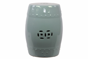 Oceanic Attractive Ceramic Garden Stool Blue by Urban Trends Collection