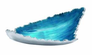Oceanic Patterned Striking Aluminum Enamel Tray by Woodland Import