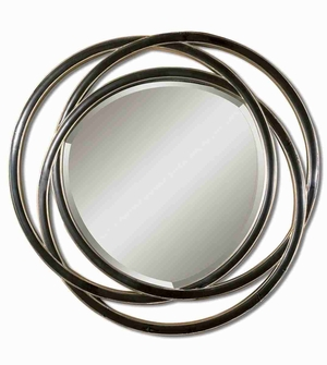 Odalis Wall Mirror with Entwined Black Alloy Circle Frame Brand Uttermost