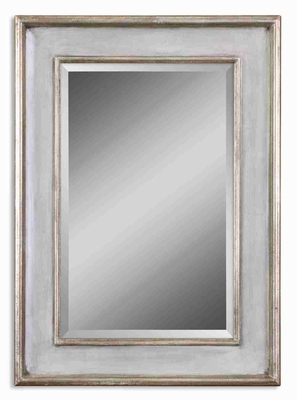 Ogden Antique Mirror with Sky Blue Finish and Ivory Undertones Brand Uttermost