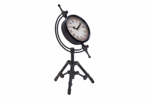 Old Classic Metal Clock on Tripod Stand