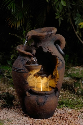 Old Fashion Pot Outdoor/Indoor Durable Fountain with LED Light Brand Zest