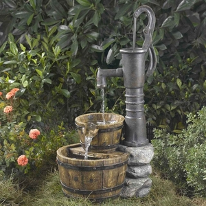Old Fashion Water Pump Water Fountain with Wooden Basins Brand Zest