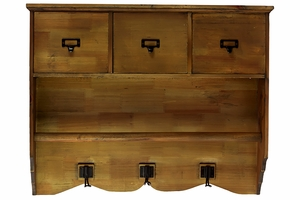 Old Fashioned Wooden Cabinet with Hanger and Hooks