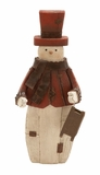 "Old School Style Polystone Snowman w/ Sled 17""H, 7""W by Woodland Import"