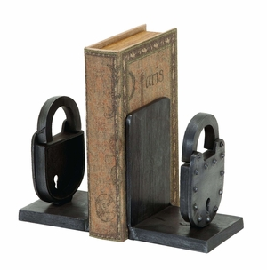 Old Time Locks Design Aluminum Bookend Brand Woodland
