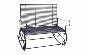 Old Time Metal Rocking Bench With Iron Underbracing Brand Woodland