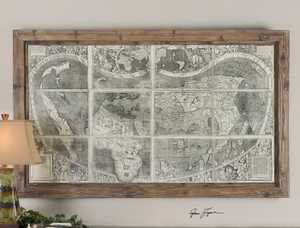 Old World Map Artwork - Hand Brushed 16th Century Map Of America Brand Uttermost