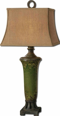 Olea Poly Green Table Lamp with Bronze Detailing Brand Uttermost