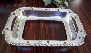 On Sale-Pewter Beaded Casserole Serving Tray New Brand Wild Orchid
